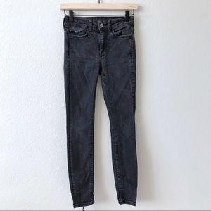 ZARA Woman Faded Black Skinny Ankle Zip Jeans 2